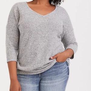 Torrid soft plush light grey vneck pullover